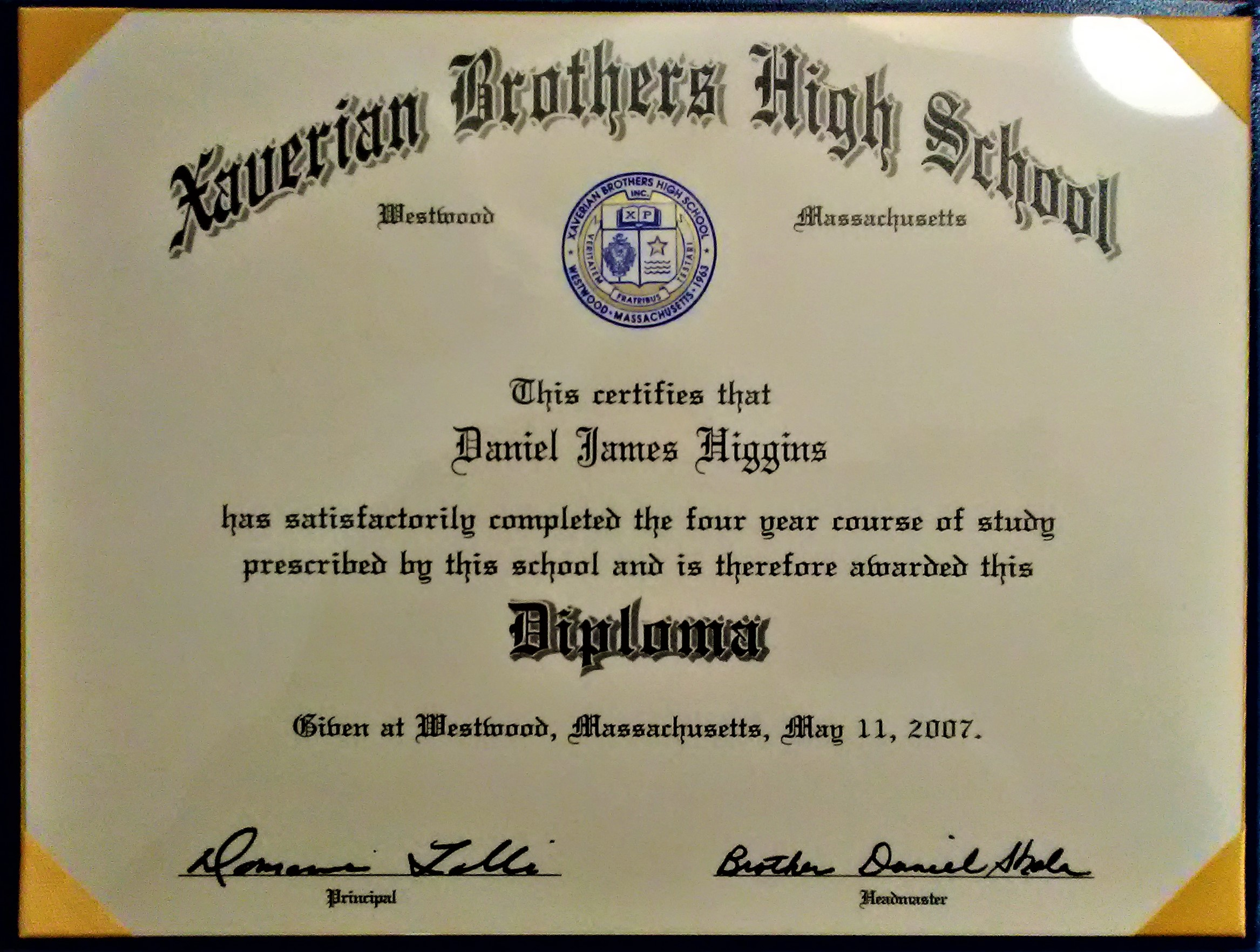 Xaverian Brothers High School Diploma